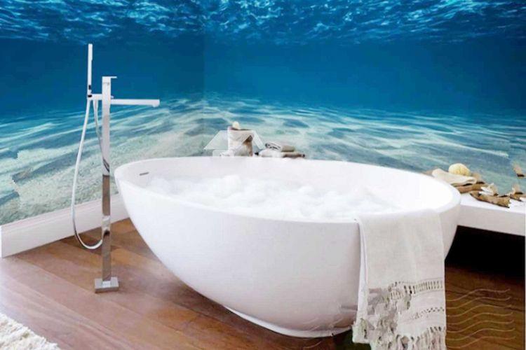 Kamar mandi dengan mural di bawah laut.