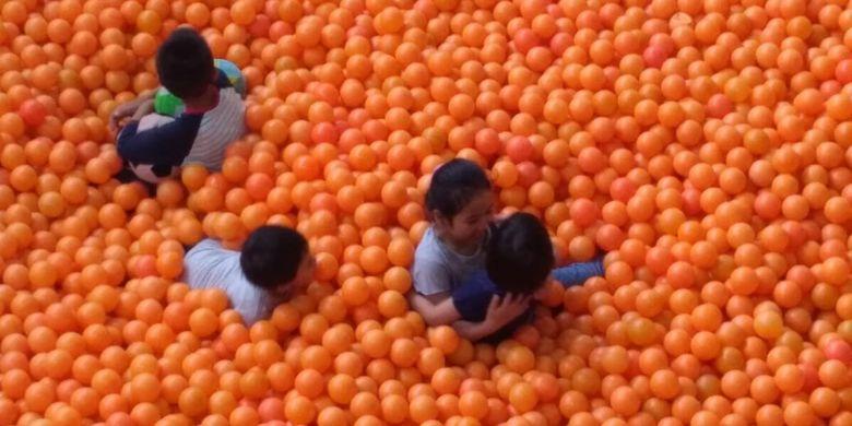 Pengunjung tengah asyik bermain di Centrum Million Balls di Bandung, Jawa Barat.