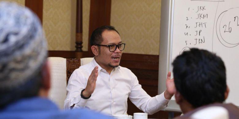 Menteri Ketenagakerjaan (Menaker) Muhammad Hanif Dhakiri saat menerima perwakilan Serikat Pekerja Cipta Kekar TPI (MNC TV) di Jakarta, Senin (18/2/2019).