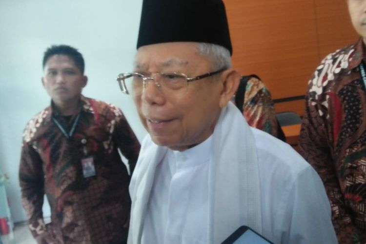 Calon wakil presiden Maruf Amin di Kantor Majelis Ulama Indonesia
