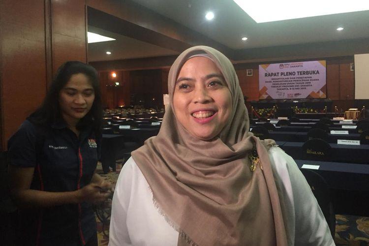Ketua KPU DKI Betty Epsilon Idroos di Hotel Bidakara, Jakarta Selatan, Minggu (12/5/2019).