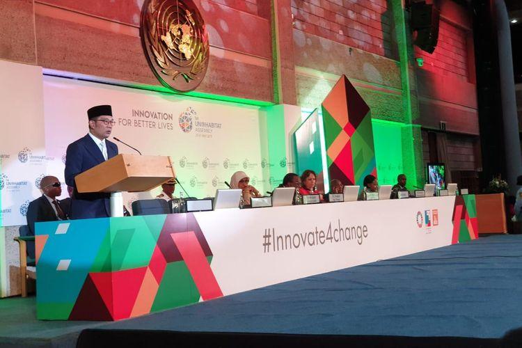 Gubernur Jawa Barat Ridwan Kamil saat menyampaikan pidato di sidang perdanan UN-Habitat di Nairobi, Kenya, Senin (27/5/2019).