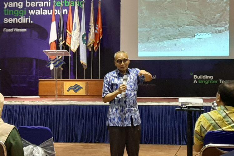 Pengamat budaya Wardiman Djojonegoro pada diskusi dalam rangka Festival Panji Nusantara 2019 di Universitas Ma Chung, Malang, Jumat (12/7/2019).