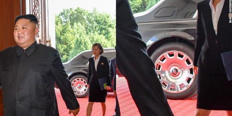 Dalam gambar terlihat sebuah mobil dengan logo Rolls-Royce di belakang Pemimpin Korea Utara Kim Jong Un saat bertemu Menteri Luar Negeri Amerika Serikat Mike Pompeo.