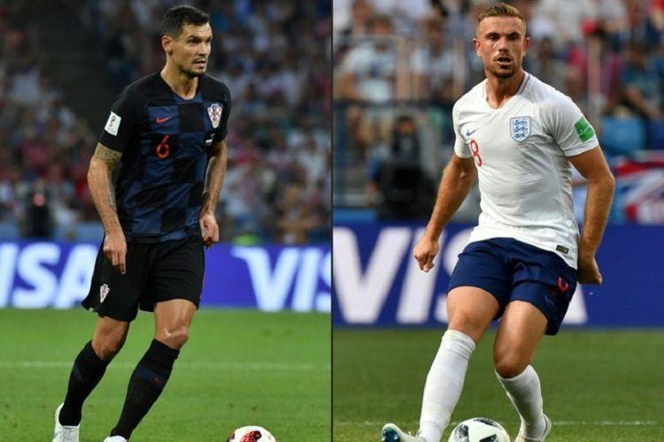 Dua pemain Liverpool, Dejan Lovren dan Jordan Henderson, akan saling berhadapan ketika Kroasia berhadapan dengan Inggris di semifinal Piala Dunia 2018, 11 Juli 2018.