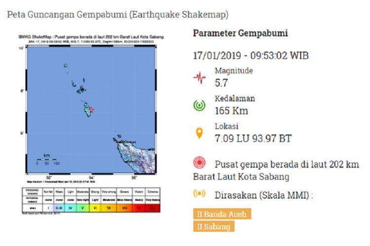 Peta guncangan gempa Aceh, Kamis 17 Januari2019