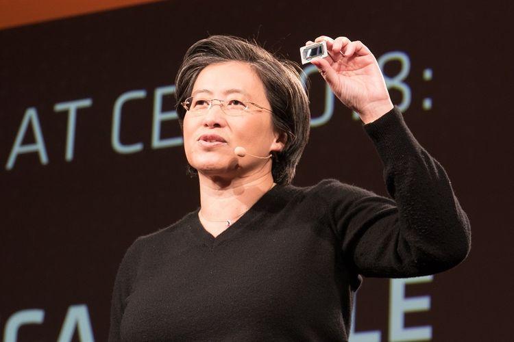CEO AMD Lisa Su saat memperkenalkan jajaran terbaru produk Ryzen dalam acara AMD Tech Day pada Sabtu (6/2018).