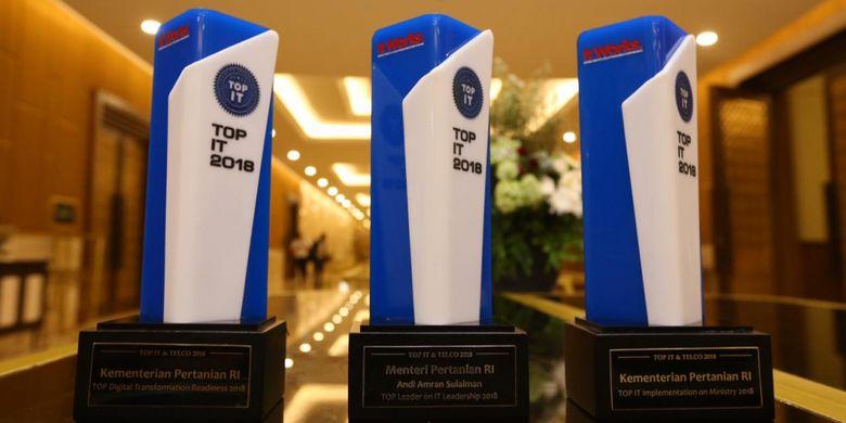 Kementerian Pertanian berhasil meraih tiga penghargaan dalam ajang TOP IT & TELCO 2018 yang diselenggarakan di Hotel Sultan, Jakarta, Kamis (6/12/2018)