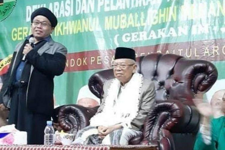 Calon Wakil Presiden nomor urut 01 Maruf Amin saat menghadiri acara Deklarasi Gerakan IM Untuk Memenangkan Jokowi-Ma?ruf Amin (IM-Jamin), di Wisma Ciawi, Bogor, Jawa Barat, Kamis (7/3/2019).