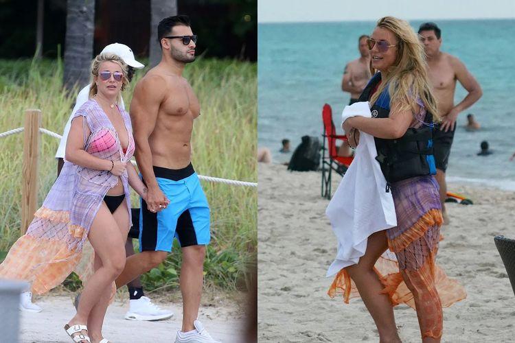 Britney Spears tertangkap kamera saat berjalan bersisian bersama kekasihnya Sam Asghari di pantai Miami, Amerika Serikat.