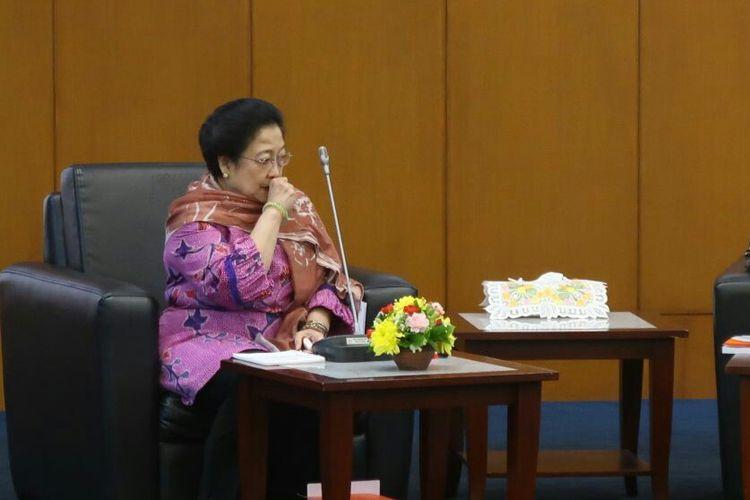 Ketua Dewan Pengarah UKP-PIP Megawati Soekarnoputri di Kompleks Parlemen, Senayan, Jakarta, Rabu (14/3/2018)