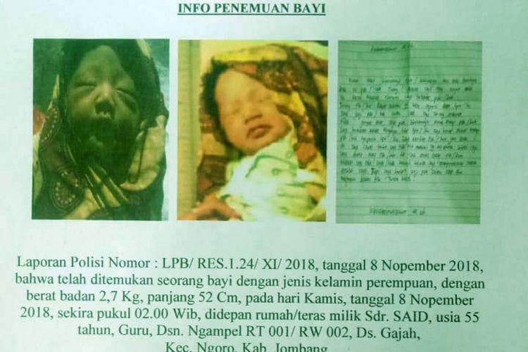 Jajaran Kepolisian Sektor Ngoro, Jombang, Jawa Timur, merilis informasi tentang penemuan bayi di Desa Gajah, Kecamatan Ngoro, Kamis (8/11/2018)