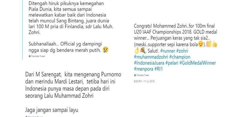 Komentar para netizen soal kemenangan Zohri