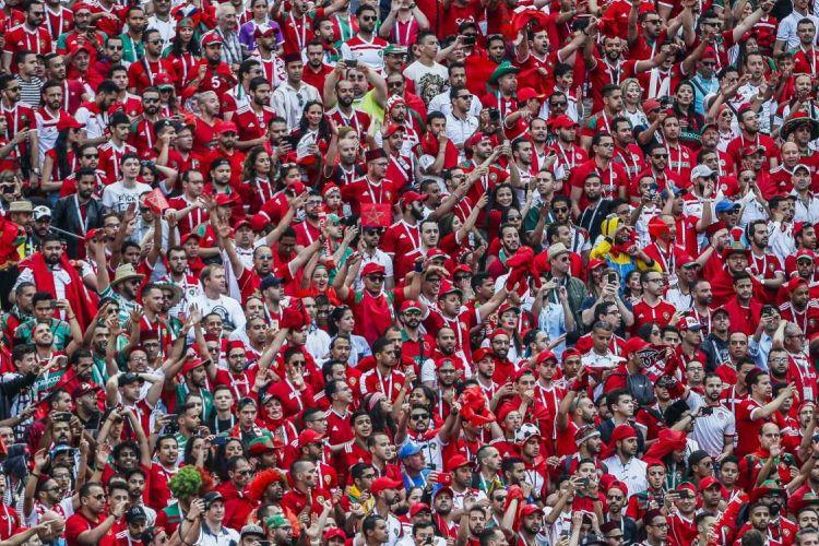 Suporter memadati stadion saat pertandingan Grup B Piala Dunia antara Portugal vs Maroko di Stadion Luzhniki, Moscow, Rabu (20/6/2018. Portugal Menang 1-0.