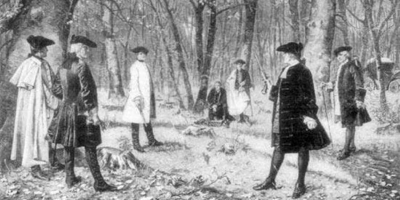 Duel antara Aaron Burr dan Alexander Hamilton. (karya John Lord pada 1902 via Britannica)
