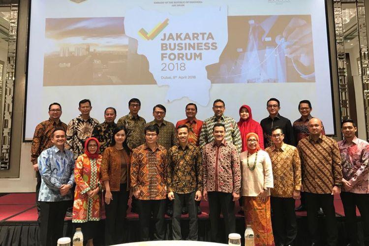 Delegasi Pemprov DKI Jakarta dalam Jakarta Business Forum di Taj Hotel, Dubai, Uni Emirat Arab (UEA), Minggu (8/4/2018).