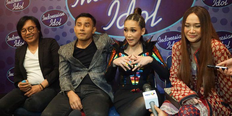 Ari Lasso, Judika, Maia Estianty dan Bunga Citra Lestari selaku juri Indonesian Idol 2018 dalam sesi wawancara di MNC Studios, Kebon Jeruk, Jakarta Barat, Selasa (3/4/2018).