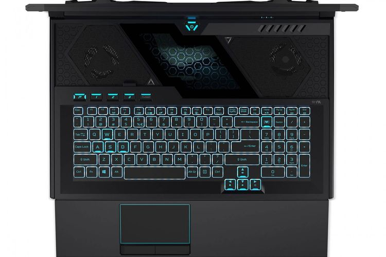 Ilustrasi Predator Helios 700 ketika keyboard digeser