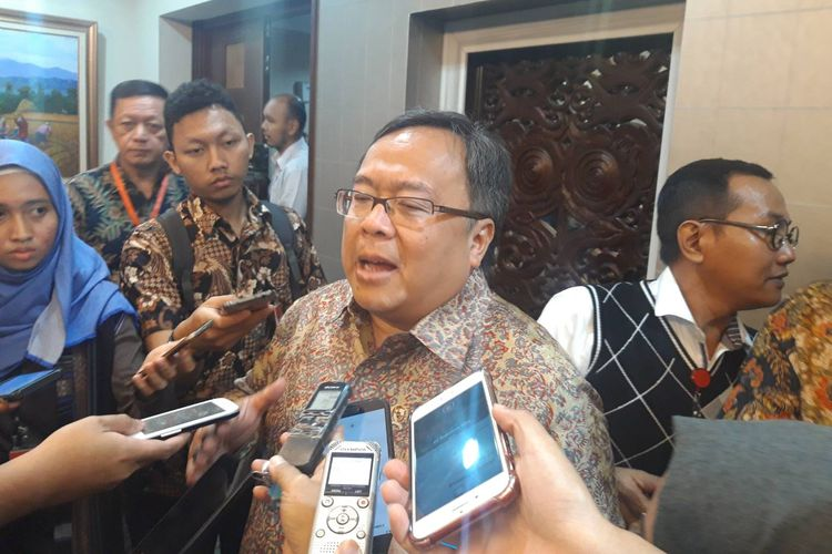 Menteri PPN/Kepala Bappenas Bambang Brodjonegoro di Kantor Staf Presiden, Jakarta, Senin (13/3/2019).