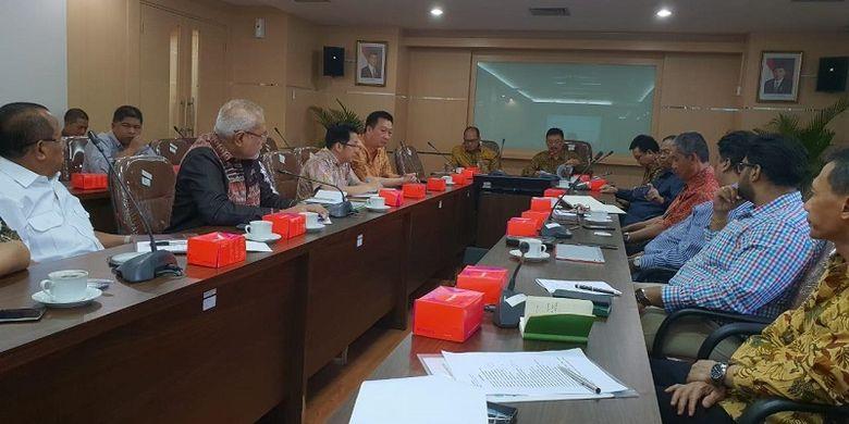 Rapat terpadu antara Kementerian Pertanian dengan Kamar Dagang dan Industri (Kadin) di Kantor Pusat Kementerian Pertanian, Jakarta pada Jumat (5/10).