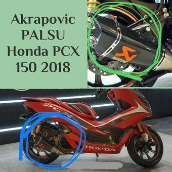 Salah satu Honda Al New PCX versi modifikasi yang menggunakan knalpot racing palsu berlogo Akrapovic saat peluncuran beberapa waktu lalu.
