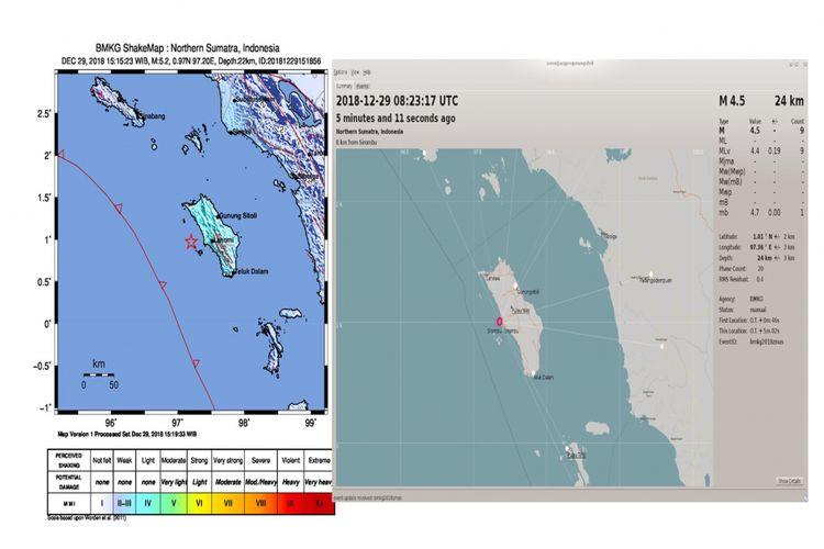 Peta Lokasi gempa yang terjadi wilayah Samudera Hindia Pantai Barat Sumatera diguncang gempabumi tektonik pada hari Sabtu (29/12/2018) pukul 15.15.23 WIB. Hasil analisis BMKG menunjukkan informasi awal gempabumi ini berkekuatan 5,2 SR yang selanjutnya dilakukan pemutakhiran menjadi M=4,9. Episenter gempabumi terletak pada koordinat 0,97 LU dan 97,15 BT, atau tepatnya berlokasi di laut pada jarak 37 km arah barat Kota Gunung Sitoli, Kabupaten Nias, Propinsi Sumatera Utara pada kedalaman 22 km.