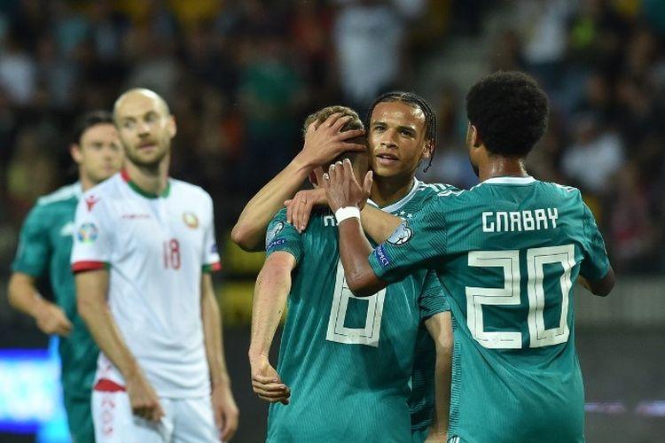 Leroy Sane merayakan gol bersama rekan-rekannya pada pertandingan Belarus vs Jerman dalam lanjutan kualifikasi Euro 2020 di Borisov Arena, 8 Juni 2019.