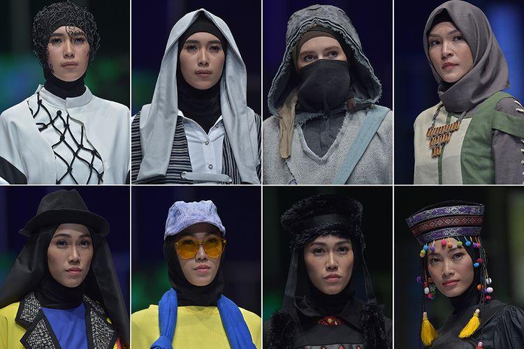 Kompilasi sejumlah model memperagakan kreasi busana muslim pada Muslim Fashion Festival 2018 di Jakarta Convention Center, Kamis (19/4/2018). Ajang peragaan busana yang bertujuan menjadikan Indonesia sebagai pusat mode muslim dunia itu diselenggarakan mulai 19-22 April, serta melibatkan 100 desainer lokal dan internasional.