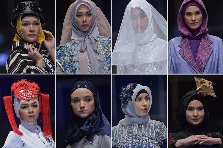 Kompilasi sejumlah model memperagakan kreasi hijab pada Muslim Fashion Festival 2018 di Jakarta Convention Center, Jumat (20/4/2018). Ajang peragaan busana yang bertujuan menjadikan Indonesia sebagai pusat mode muslim dunia itu diselenggarakan mulai 19-22 April, serta melibatkan 100 desainer lokal dan internasional.