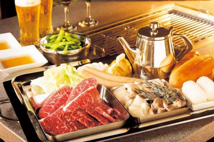 Paket yakiniku di Kamogawa Sky BBQ Garden, Yakiniku no Meimon Tendan Gion-honten