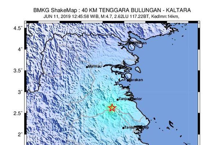 Peta guncangan gempa Kalimantan Utara