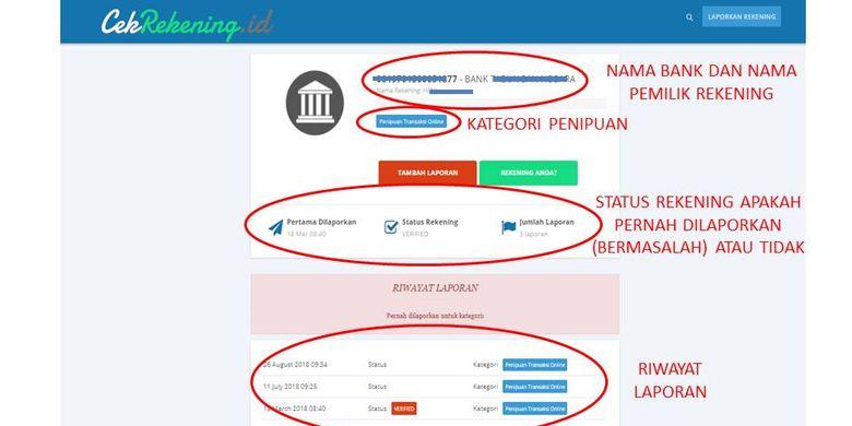 Tangkapan layar hasil pengecekan suatu nomor rekening di situs CekRekeningID Kominfo.(CekRekeningID)