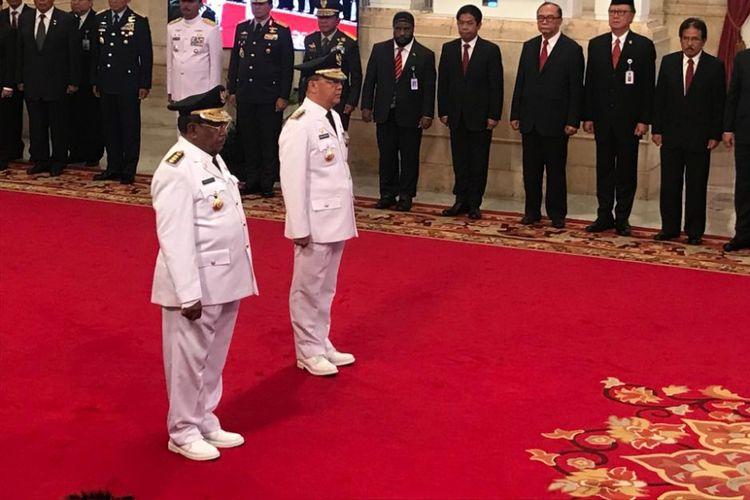 Suasana pelantikan Wan Thamrin Hasyim sebagai Plt Gubernur Riau dan Rosidin Mersyah sebagai Plt Gubernur Bengkulu di Istana Negara, Jakarta, Senin (10/12/2018) oleh Presiden Joko Widodo.