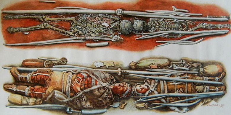 Ilustrasi dari kerangka anak-anak yang ditemukan di Sunghir