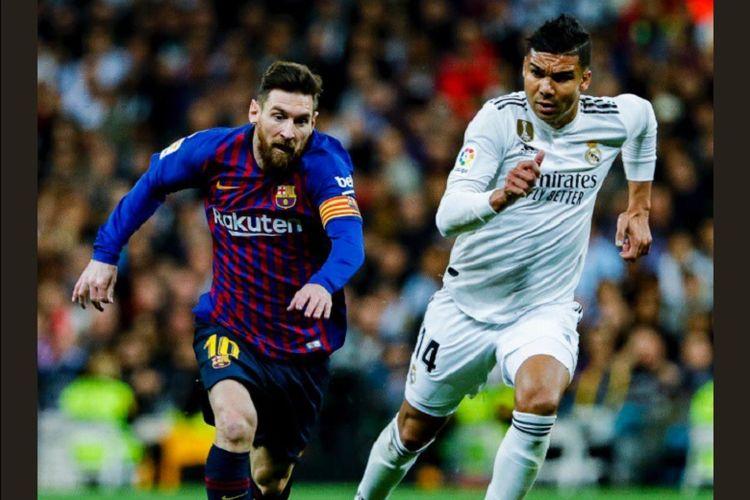 Casemiro membayang-bayangi Lionel Messi pada pertandingan El Clasico, Real Madrid vs Barcelona, di Stadion Santiago Bernabeu dalam lanjutan La Liga Spanyol, 2 Maret 2019.