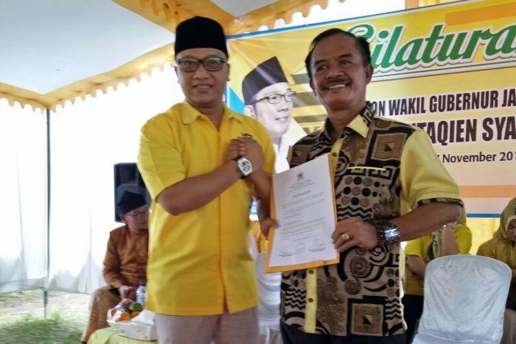 DPD Golkar Pangandaran menyatakan dukungannya terhadap Daniel Mutaqien untuk mendampingi Ridwan Kamil dalam Pilkada Jabar 2018.