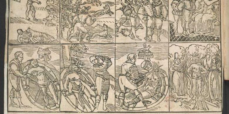 Sebuah selebaran yang dicetak pada 1590 menunjukkan proses eksekusi Peter Stumpf yang mengaku membunuh 13 anak-anak dan dua perempuan hamil.
