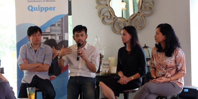 Diskusi ?Cerita 3 Perusahaan Edutech Dalam Memajukan Pendidikan Indonesia di Edtech Asia Summit Hong Kong? (28/8/2018) diadakan Quipper, Zenius dan Solve Education! (28/8/2018).