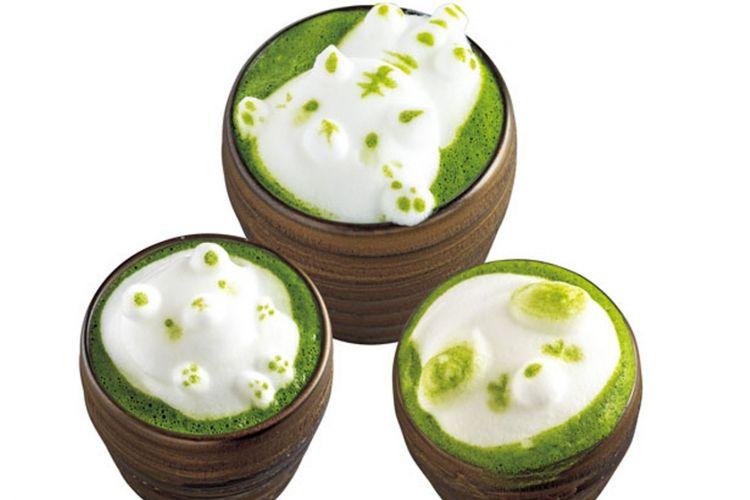 ?Marokoi Matcha Latte 3D Art?, teh hijau dengan busa café latte 3D art (700 yen per item) / Saryo Suisen Takatsuji-honten