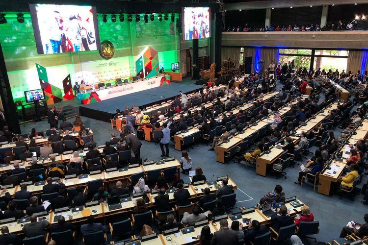 Ridwan Kamil saat menyampaikan pidato pada sidang perdana UN-Habitat Assembly di Markas UN-Habitat di Nairobi, Kenya, Afrika Timur, Senin (27/5/2019).