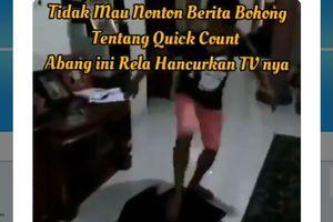 """Viral, Video Pria Banting dan Hancurkan TV karena Kesal Prabowo Kalah di """"Quick Count"""""""