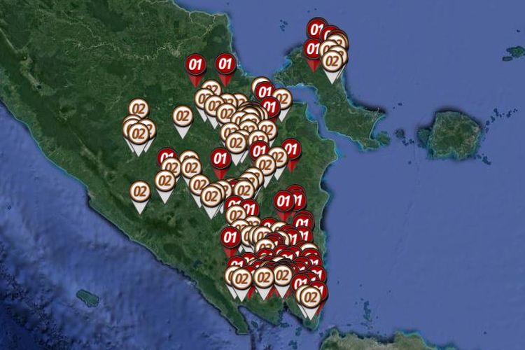 Peta sebaran hitung cepat atau quick count Pilpres 2019 yang dirilis oleh Litbang Kompas pada Rabu (17/4/2019) hingga pukul 23.00 WIB di Sumatera bagian selatan yang meliputi Sumatera Selatan, Bangka Belitung, dan Lampung.