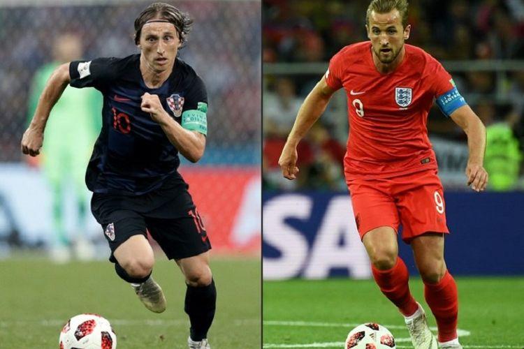 Luka Modric dan Harry Kane menjadi simbol duel Kroasia vs Inggris pada semifinal Piala Dunia 2018 di Stadion Luzhniki, 11 Juli 2018.