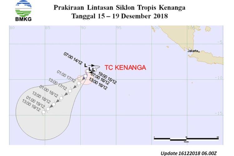 Prakiraan lintasan siklon tropis Kenanga tanggal 15-19 Desember 2018.