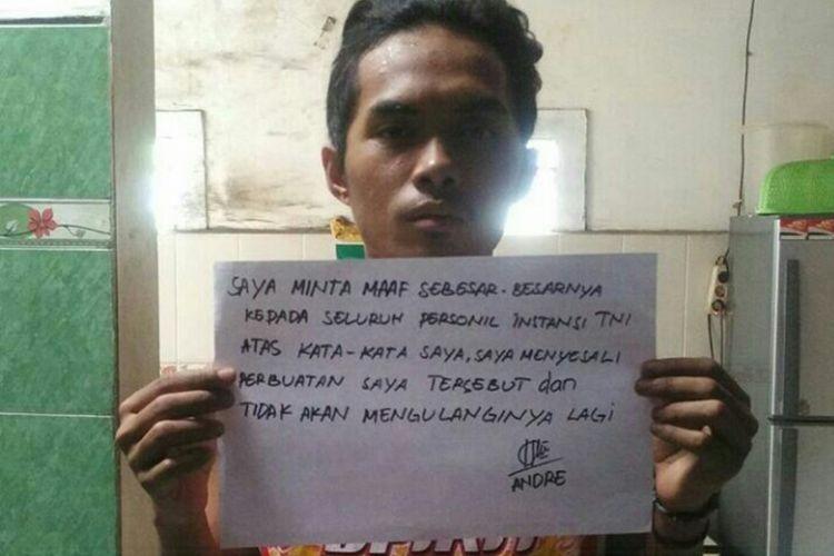 Permintaan maaf oleh Muhammad Andre Nur Jayadi (20) setelah dituduh menyebar ujaran kebencian kepada TNI.