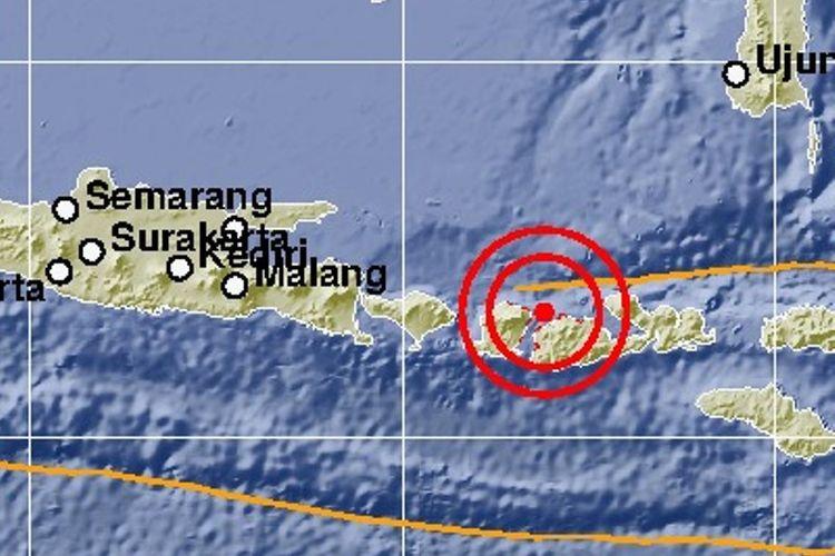 Pusat gempa Lombok 19 Agustus 2018 pukul 21.56 WIB