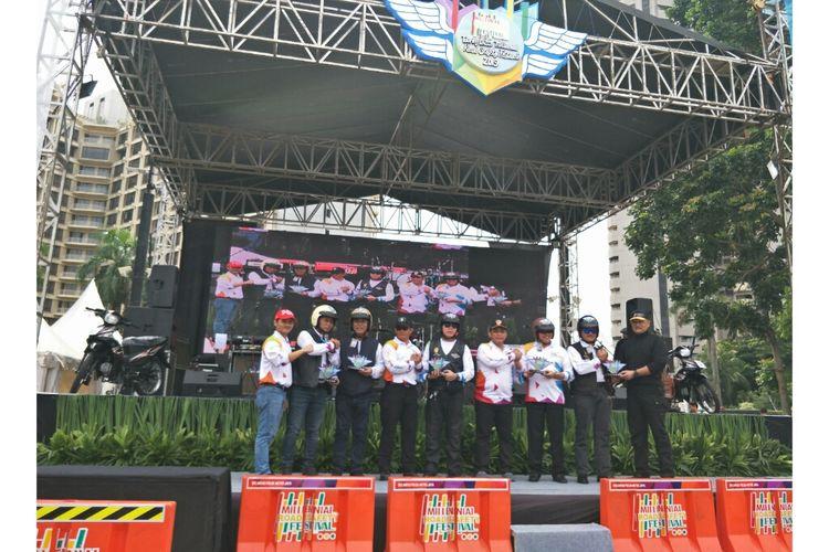 Kapolda saat safety riding, di GBK Parkir Timur, Jakarta Pusat, Sabtu (16/3/2019).