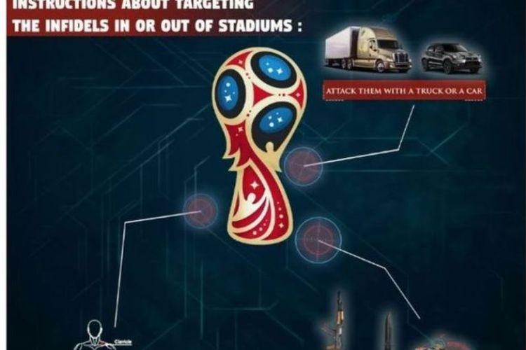 Poster yang dirilis oleh ISIS memperlihatkan aksi teror seperti apa yang harus dilakukan saat menyerang Piala Dunia.