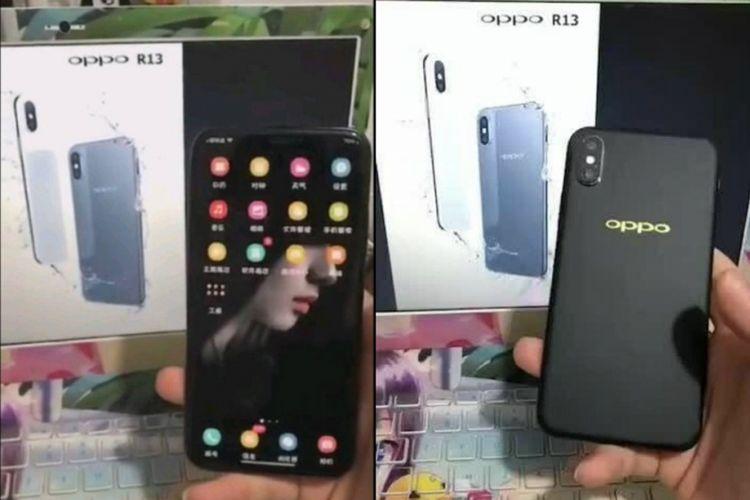 Bocoran foto Oppo R13 yang berbentuk mirip iPhone X.