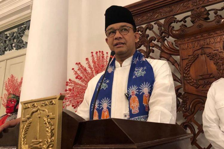 Gubernur DKI Jakarta Anies Baswedan di Balai Kota DKI Jakarta, Jumat (31/8/2018).
